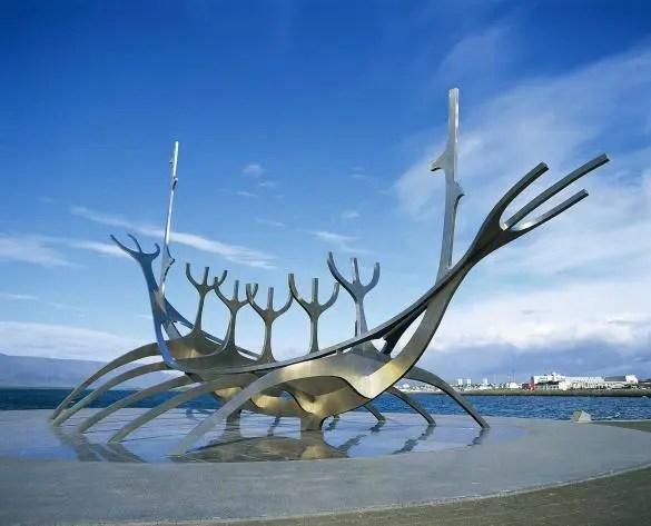 The Sun Voyager in Reykjavik, Iceland, is featured in the Reykjavik Art Walk app.
