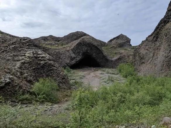 When hiking Hljóðaklettar you will see the Troll Church.