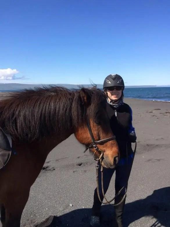Tory Bilski with an Icelandic horse.