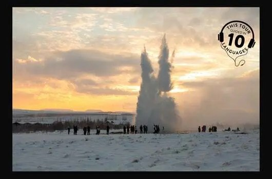See the gushing geysers of Haukadalur on the Golden Circle and northern lights tourtour.