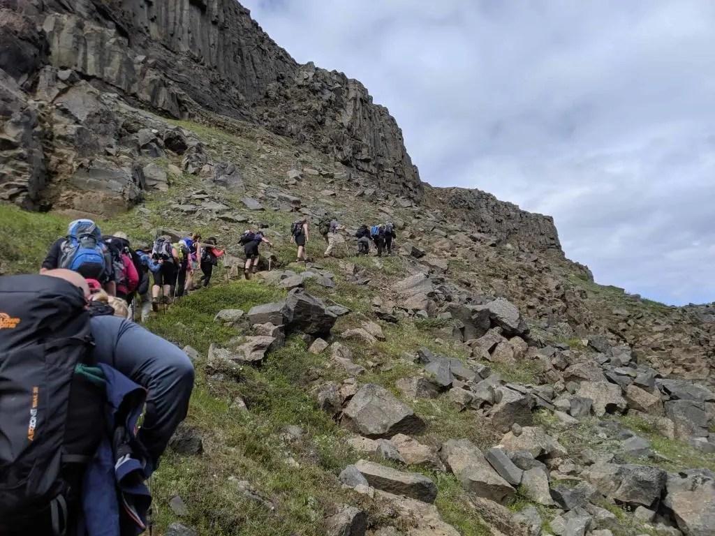 Ascending from the Jökulsárgljúfur canyon