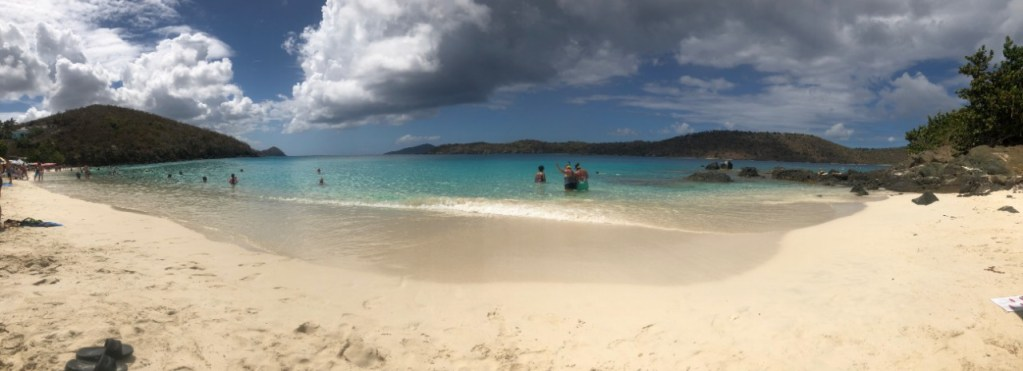 Panoramic view of Coki Beach on the east side of Saint Thomas.