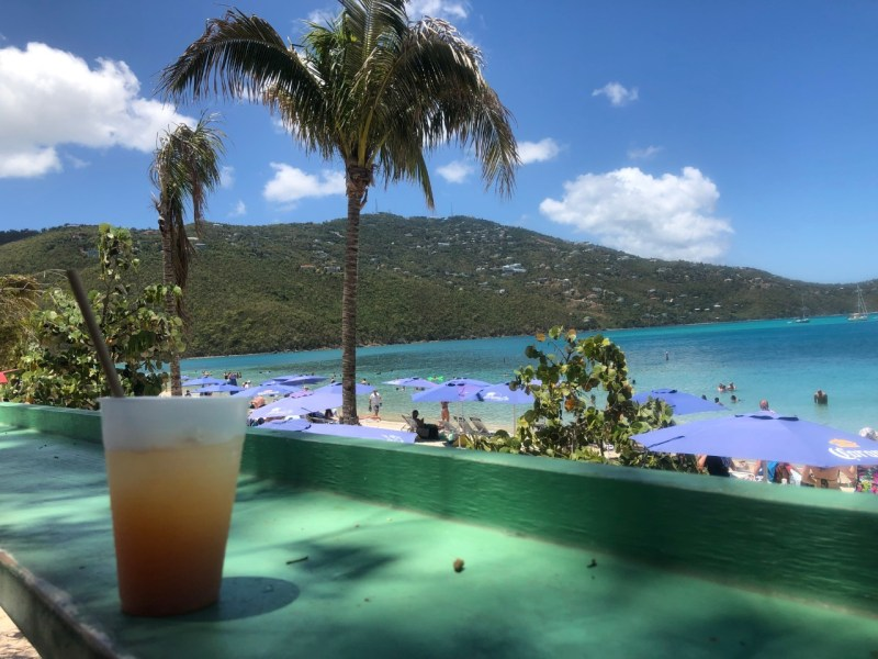 A cocktail on a bar at Magens Bay in St. Thomas, USVI.