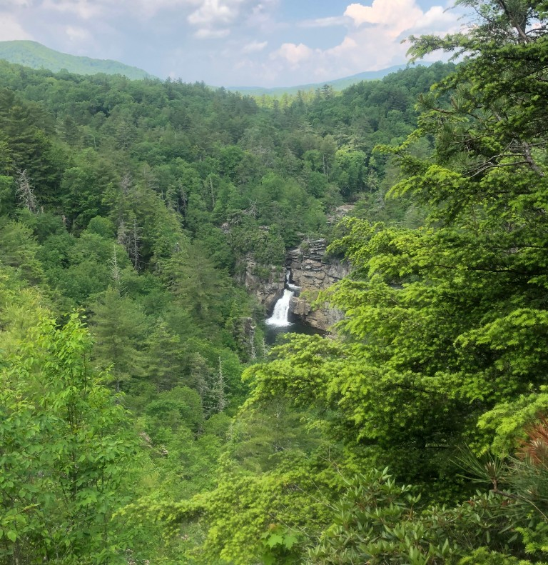 A bird's eye view of lower Linville Falls.