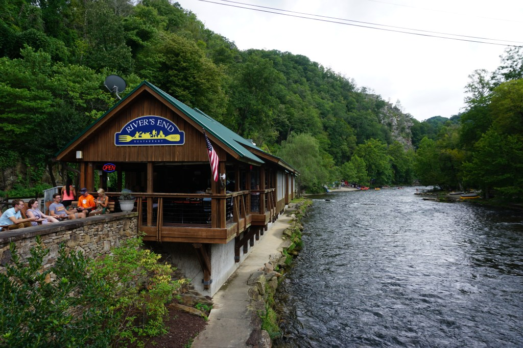 River's End Restaurant at the Nantahala Outdoor Center. The restaurant is perched right next to the river.