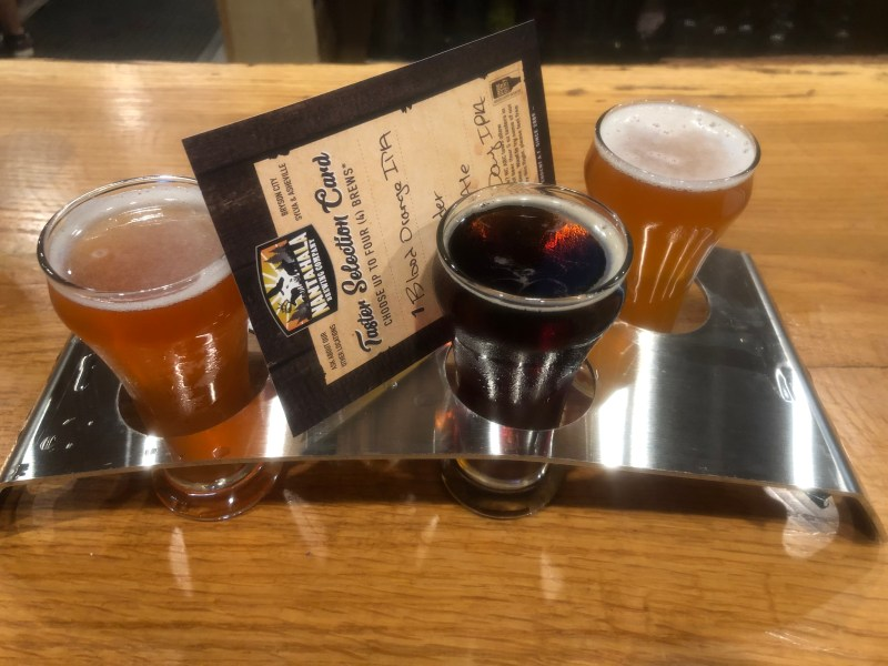 Flight of beer from Nantahala Brewing Company. Perfect place to stop after white water rafting in NC.