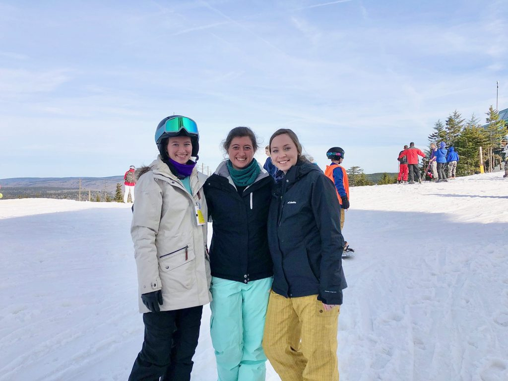 My two cousins and I at Snowshoe for a day of skiing and boarding. Our outfits show part of what to pack for a ski vacation.