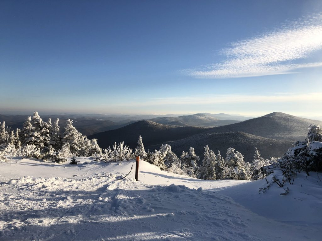 The view from mid-mountain at Killinton, VT. Snowboarding tips for beginners include appreciating the beautiful views!