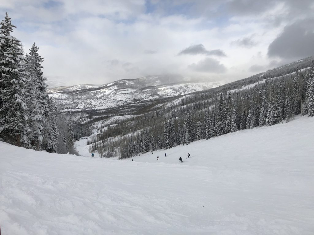 The slopes at Steamboat Springs are less crowded because it is so far from Denver. The wide open slopes are lined by snow covered evergreen trees and the mountain back drop can't be beat.