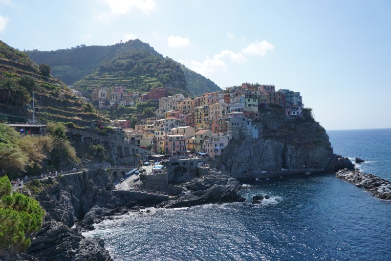 Colorful houses along a cliff side. You can have views like these if you save money to travel.