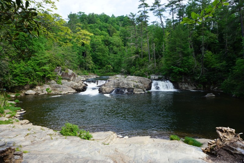 Two waterfalls side by side. Linville Falls if one of the best places to stay in North Carolina.