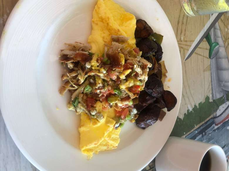 omelette and coffee from Margaritaville St. Thomas USVI