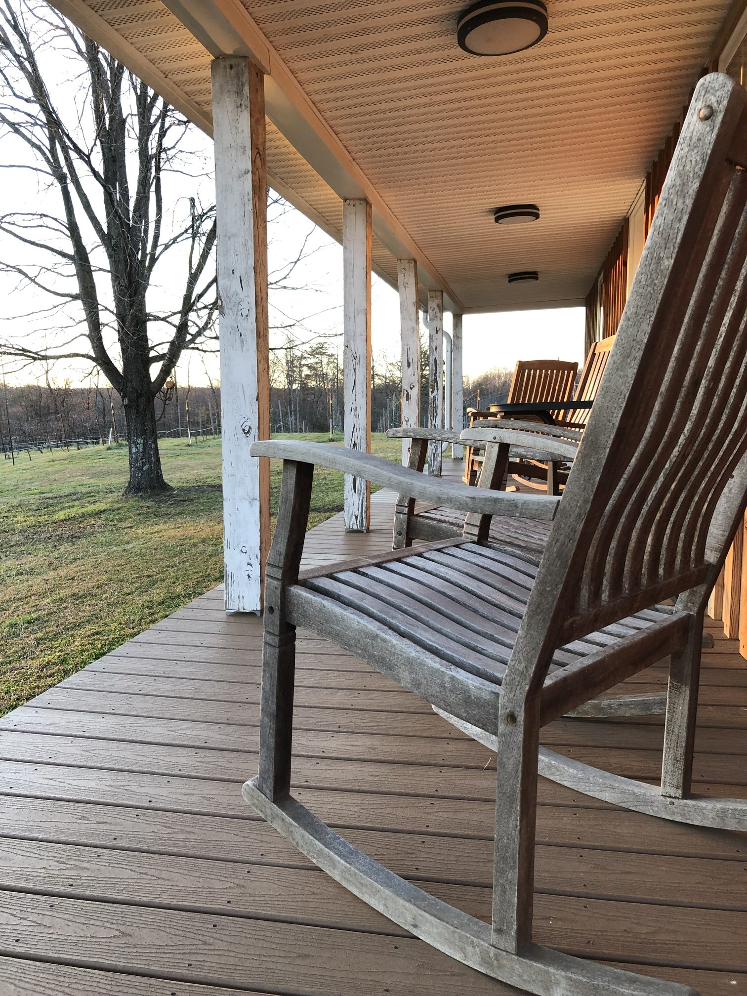 rocking chair on a wooden porch
