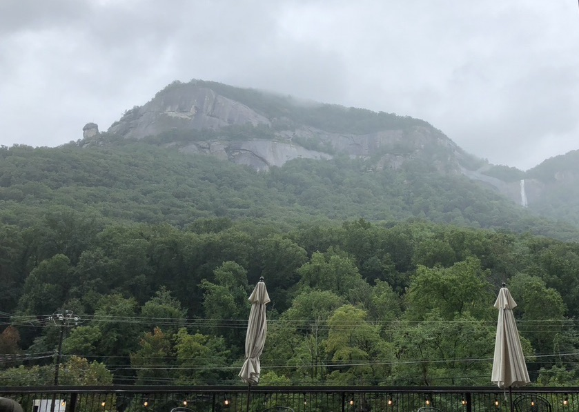 View of Hickory Nut Falls from Burntshirt Vineyards