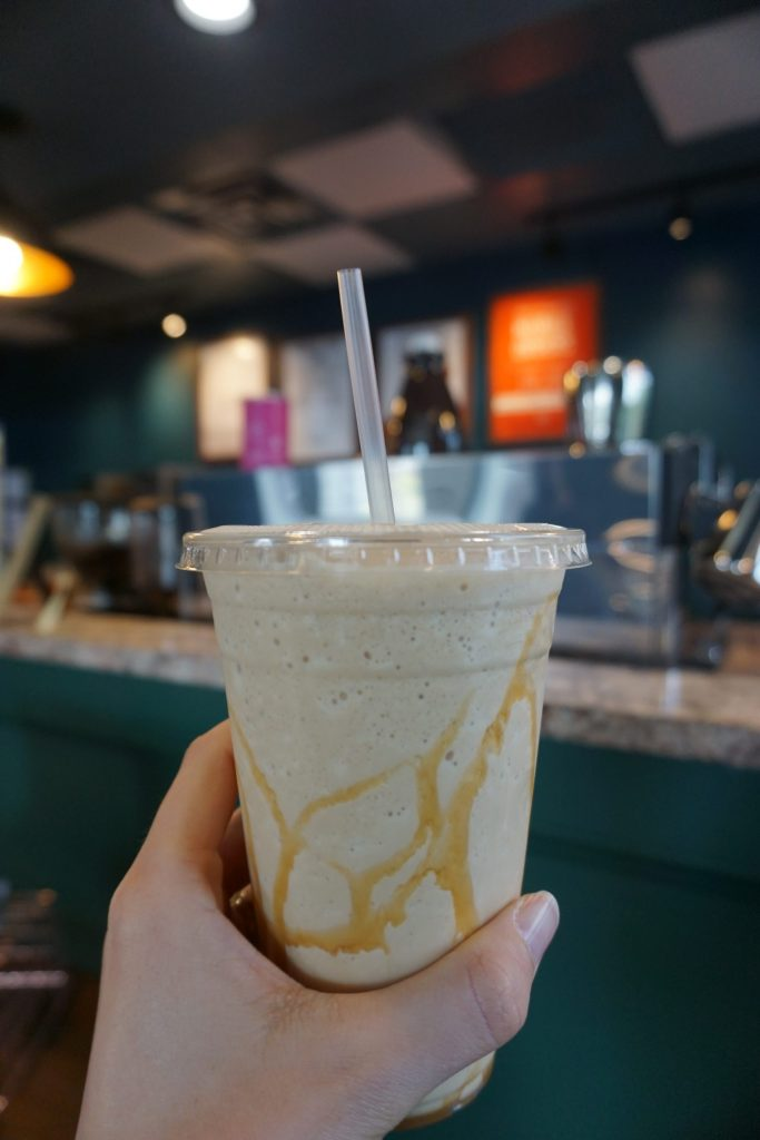caramel frappuccino at one of the best coffee shops in Winston-Salem