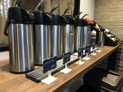 Coffee dispensers at one of the best coffee shops in Winston-Salem