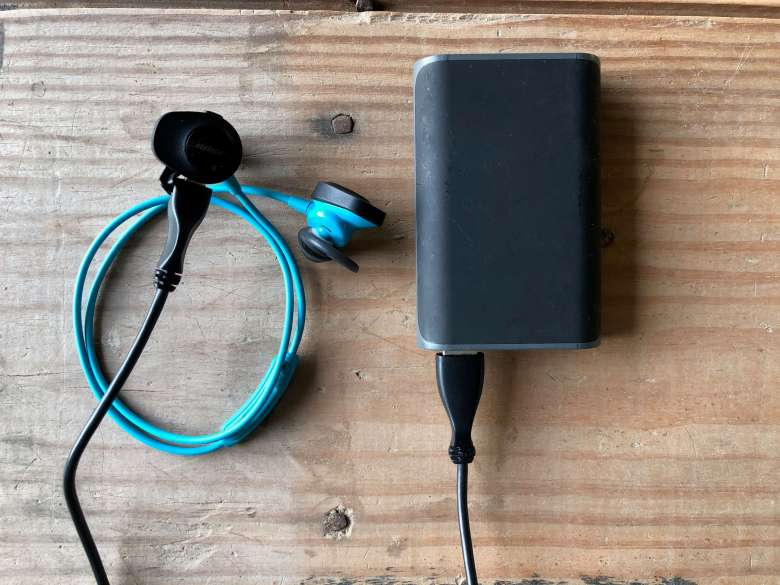 portable charger and headphones