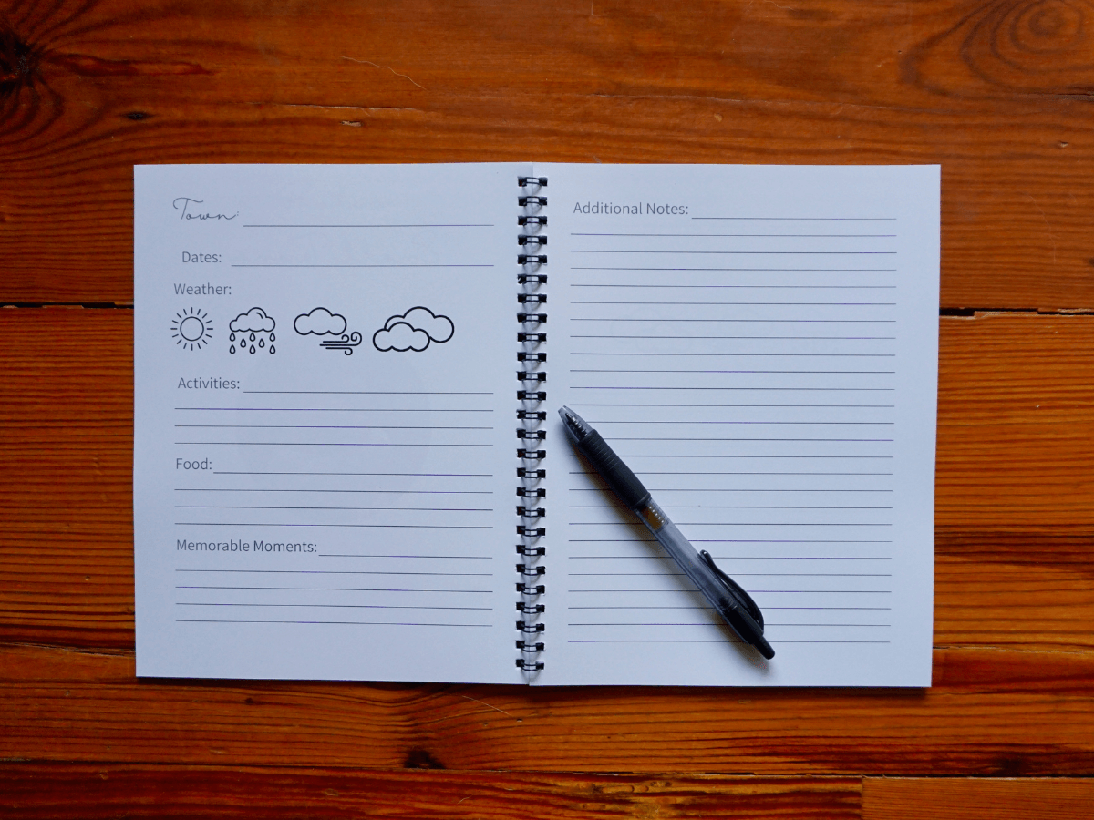 travel journal with prompts