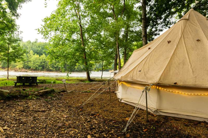 bell tent with fire pit