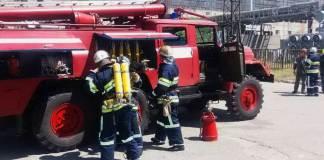 На Харьковщине спасатели тренировались тушить пожар на ТЭС 1