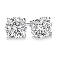 EGL USA Certified Round 1.08 CTW Diamond Stud Earrings in