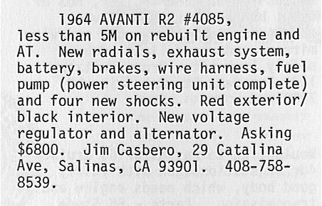 Bob's Studebaker Resource Website (Studebaker Avantis R