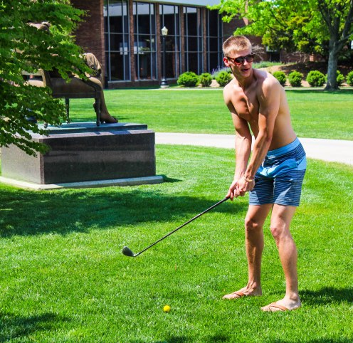 Branden Bisher getting ready to tee off towards Thomas Jefferson during a leisurely afternoon.