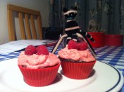 Melt-in-the-middle chocolate and raspberry cupcakes - https://studentbaking101.wordpress.com/2014/08/12/melt-in-the-middle-chocolate-and-raspberry-cupcakes/