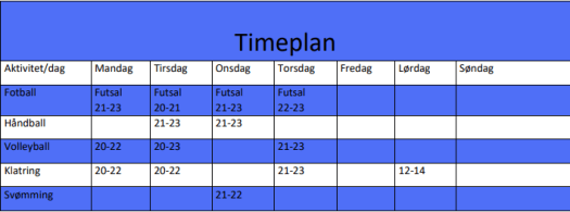 Timeplan Bosi