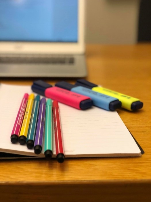 Fargetusjer og markeringstusjer til eksamen