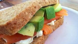 Salmon, Avocado and Cream Cheese sandwich