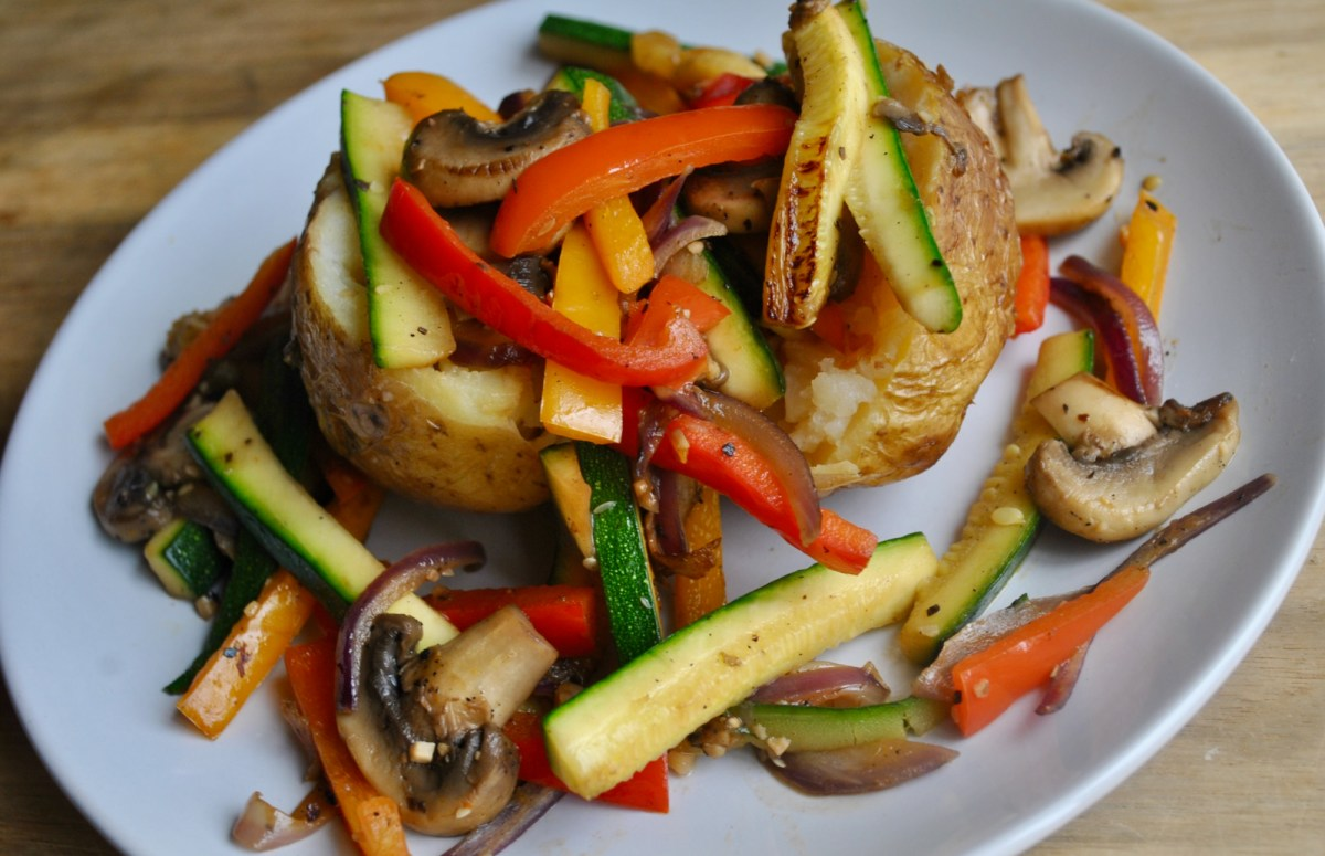 jacket potato fried vegetables recipe - 1