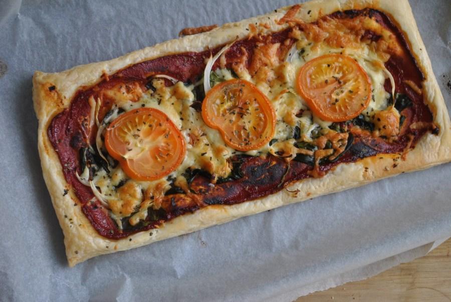 Spinach tomato vegetarian puff pastry tart recipe - 1 (1)