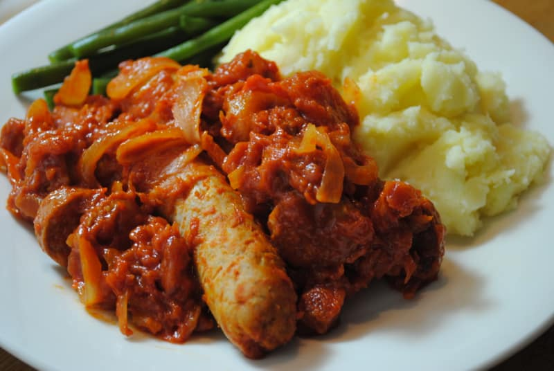 Spicy sausages and mash recipe