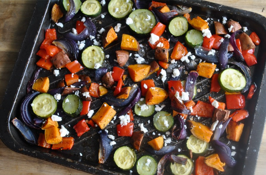 Sweet Potato And Roasted Vegetable Feta Cheese One Tray Bake Recipe - 3