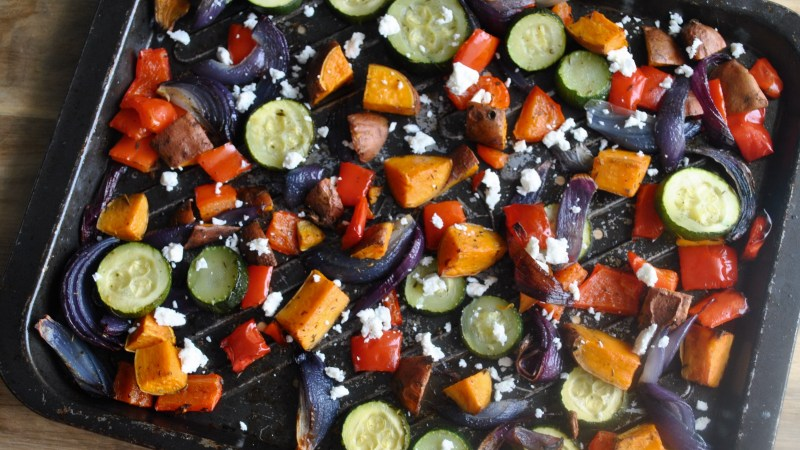 Sweet Potato And Roasted Vegetable Feta Cheese One Tray Bake Recipe - 3