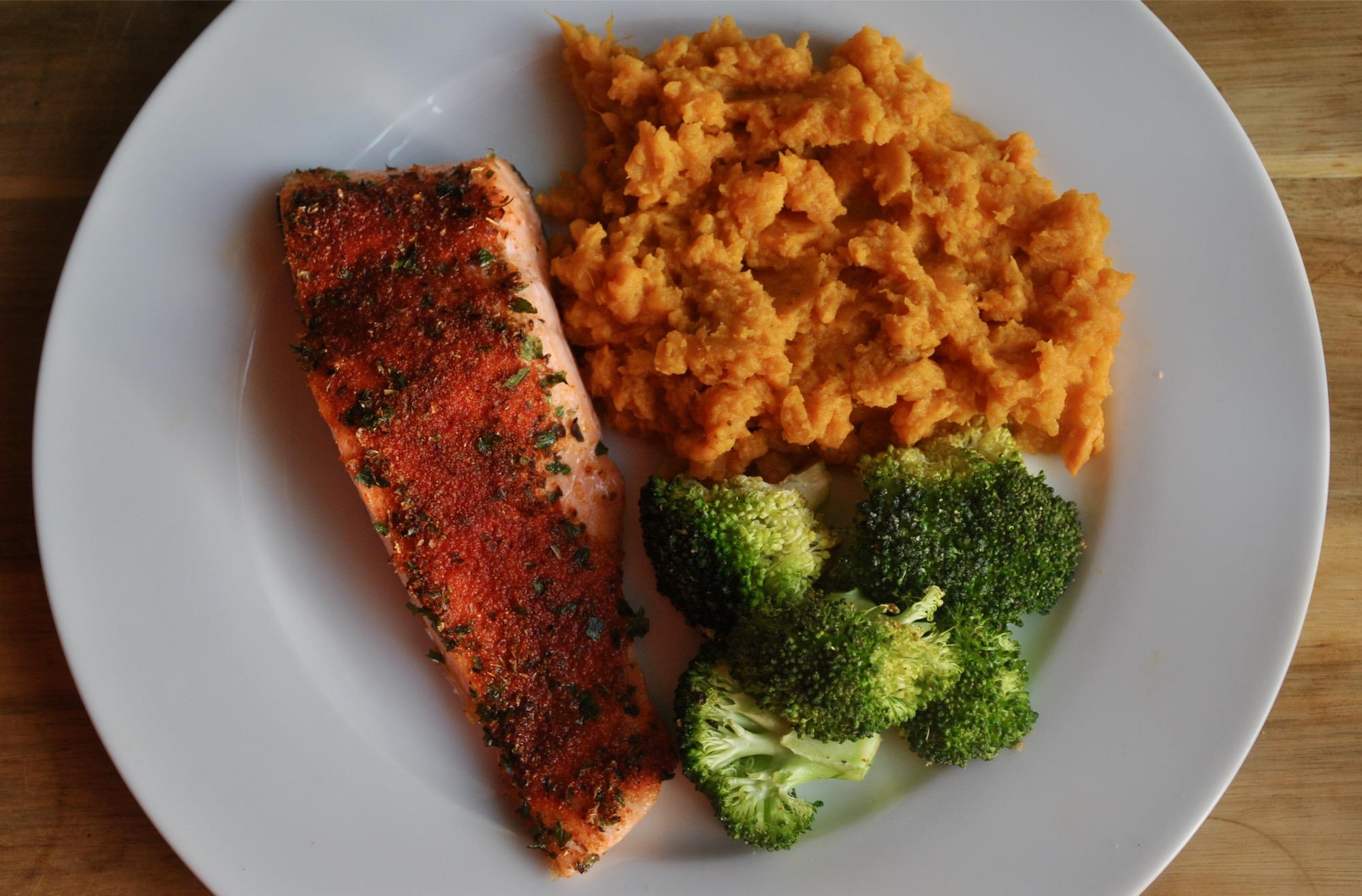 Healthy Baked Cajun Salmon With Sweet Potato Mash Recipe Student Recipes Student Eats