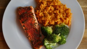 cajun salmon sweet potato broccoli recipe - 2