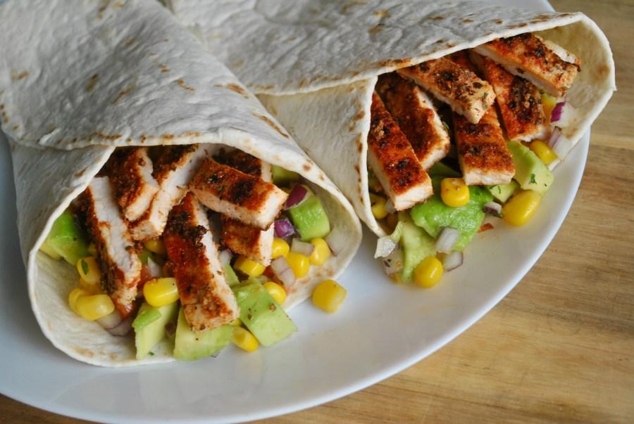 cajun turkey wraps sweetcorn avocado recipe - 1