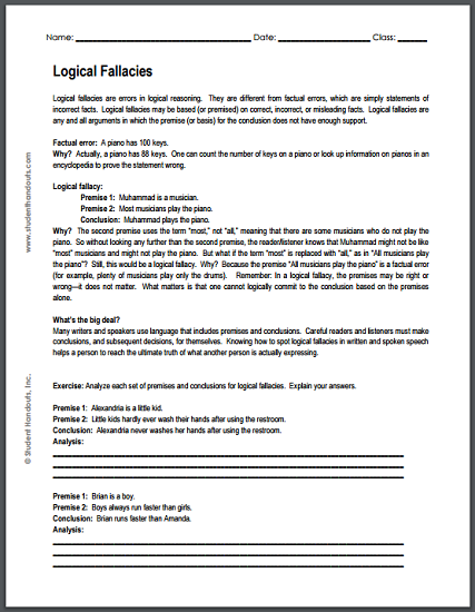 What Are Logical Fallacies? Printable Worksheet  Student Handouts