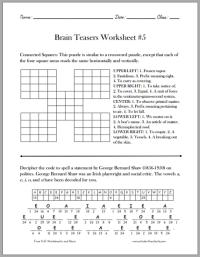 Brain Teasers for Kids Worksheet #5 - Free to print (PDF ...