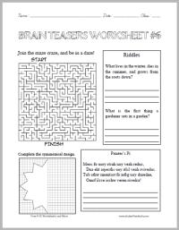 Number Names Worksheets  Printable Brain Teasers For Kids ...