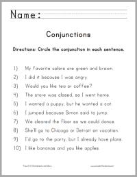 Conjunctions worksheet for 4th grade