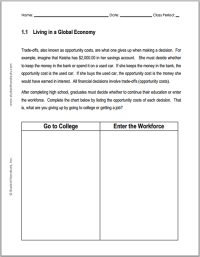 Opportunity Cost Worksheet Worksheets For School