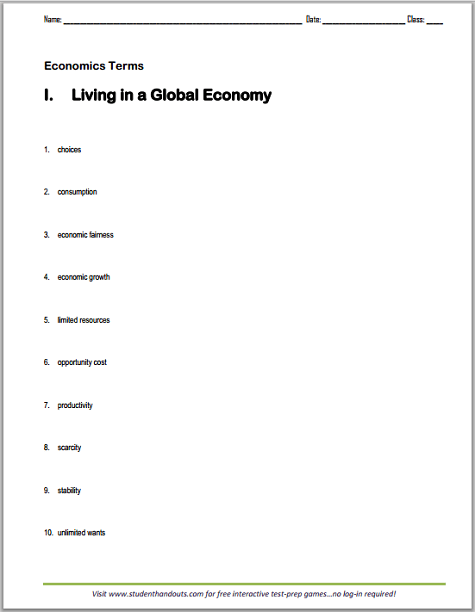 Printables. Economics Worksheets For High School