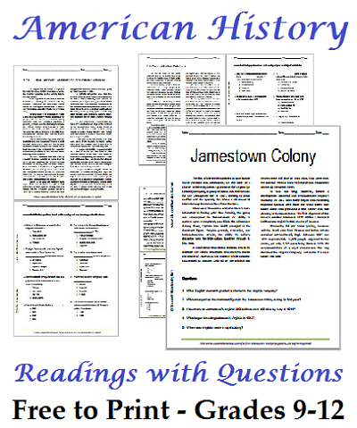 List Of American History Readings Worksheets For High School Students  Free To Print