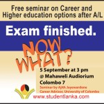 Career and Higher study options after A/L – free seminar after 2012 exams