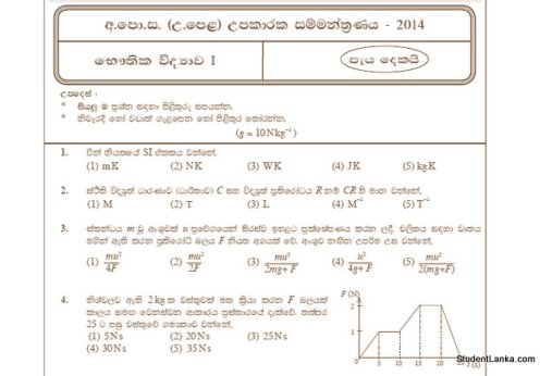 A/L model papers 2014