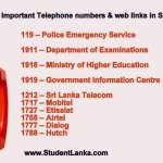 Important Telephone numbers & web links in Sri Lanka