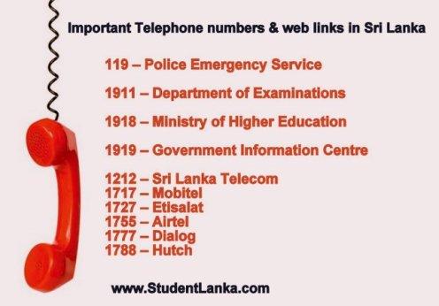 telephone numbers sri lanka